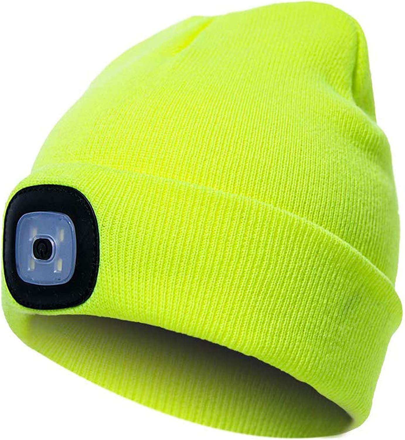 Warm Bright LED Lighted Beanie Cap Unisex Rechargeable Headlamp Hat
