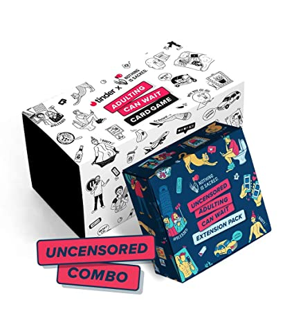 Tinder x NIS Adulting Can Wait Card Game + Uncensored Extension Pack Combo:  A Party Game for Adults (18+)