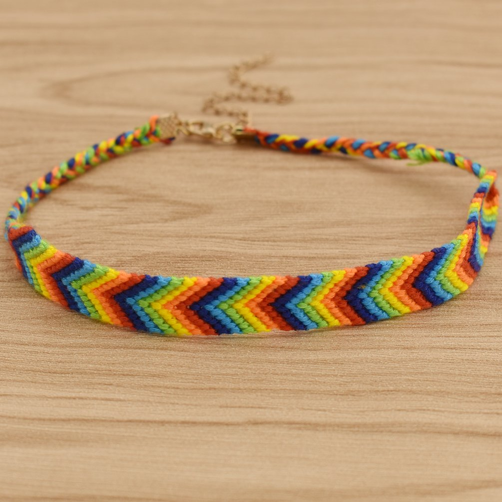 Qlychee LGBT Cotton String Knitted Chokers Retro Rainbow Gay Pride Ribbon Necklace Gift She-Buy