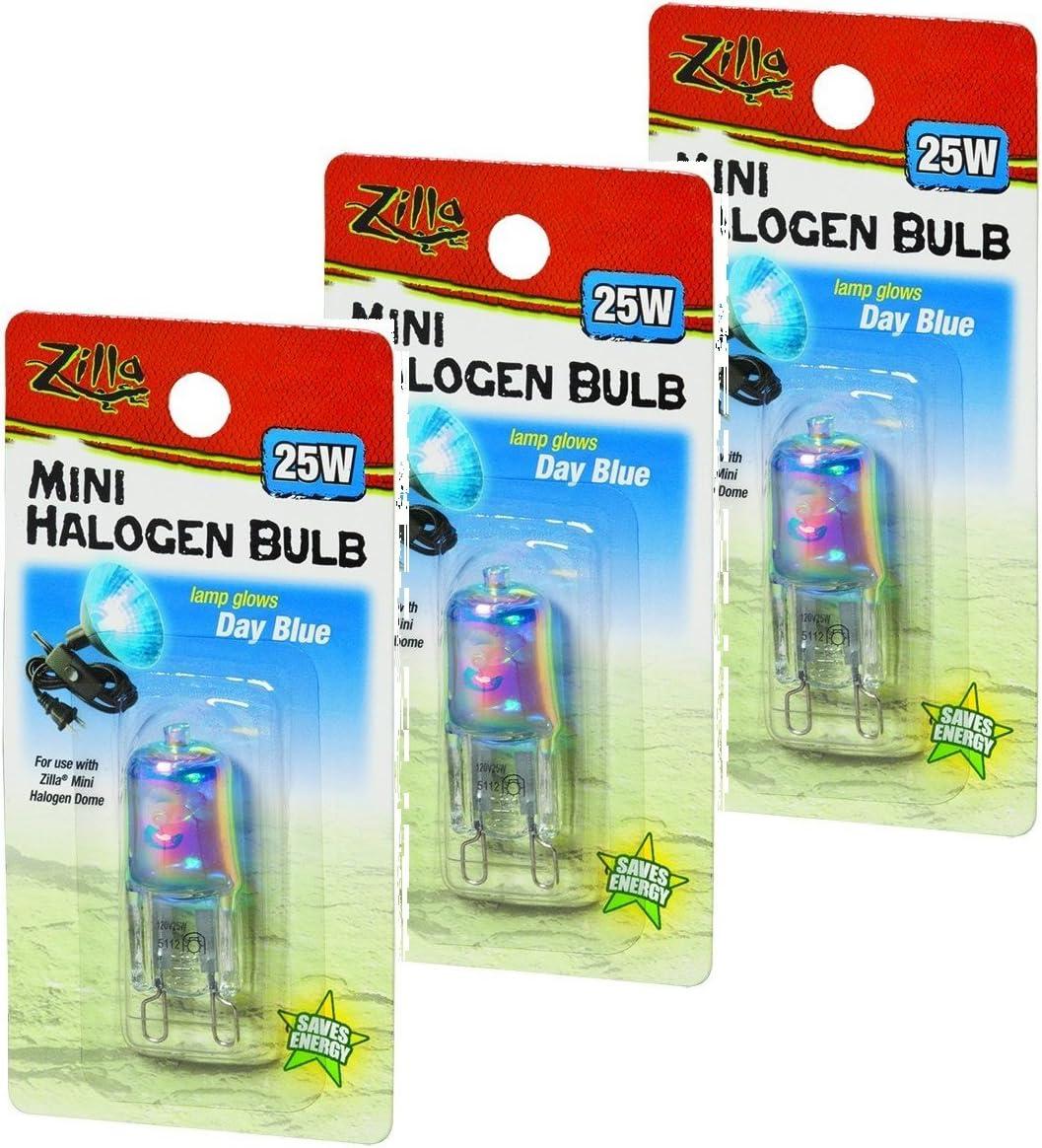 Zilla Mini Halogen Lamp Reptile Bulb, 25-watt, Day Blue (3 Pack)