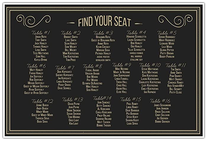 Retro Vintage Black And Gold Leaf Wedding Seating Chart