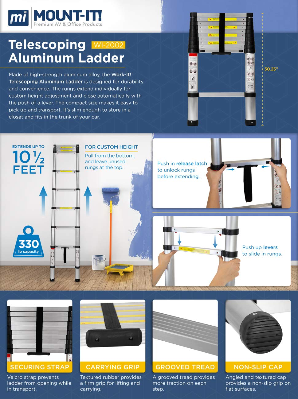 Work-It! Telescoping Ladder 10.5 Ft - Aluminum Extension Ladder with Soft Close Spring Function, EN131 Certified 330 lbs Capacity by Work-It! (Image #2)