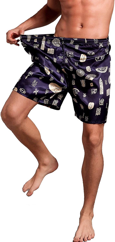 Mobarta Mens Satin Boxers Silk Sleepwear Underwear Shorts Lounge Beach Shorts