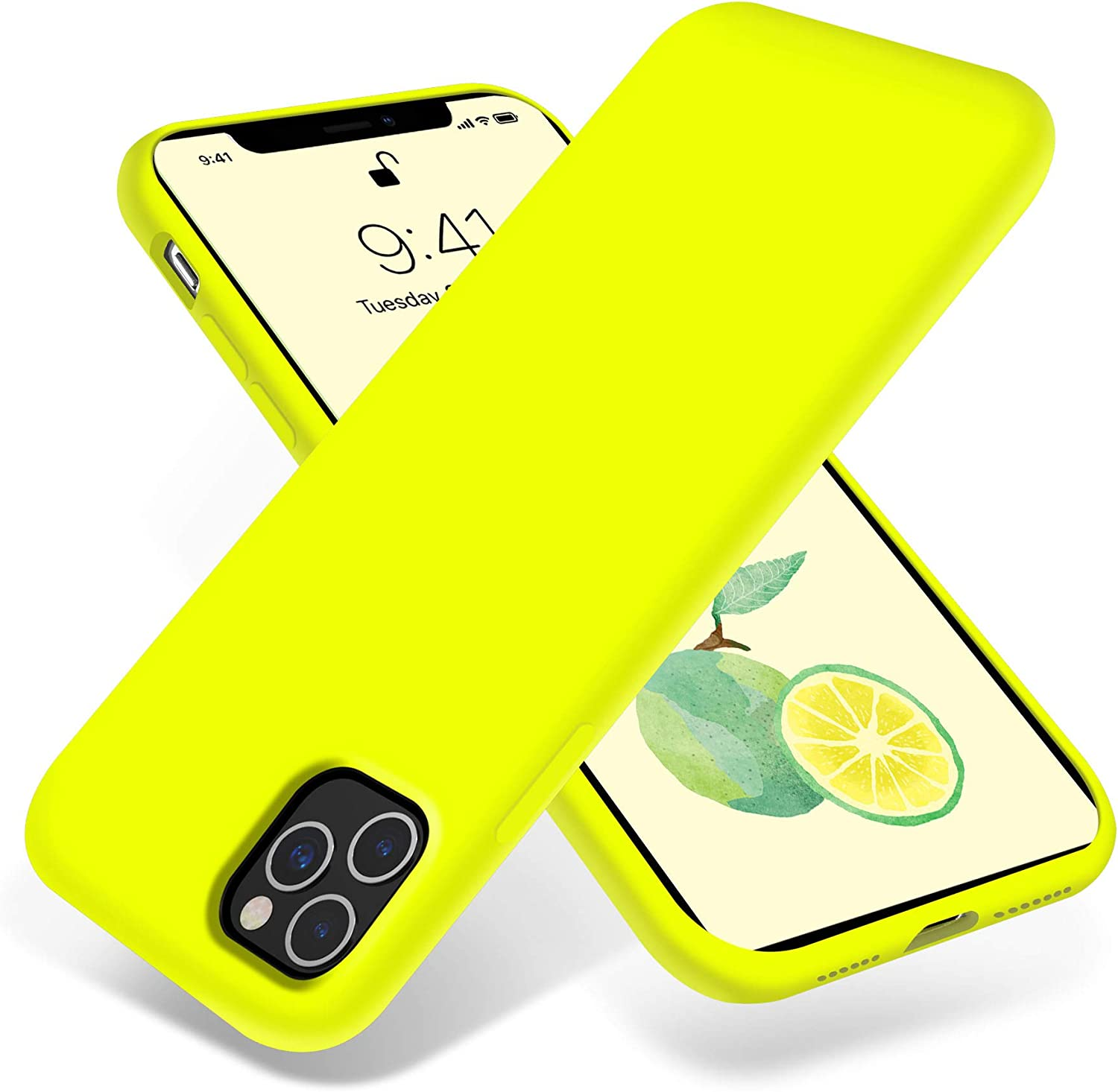 OTOFLY iPhone 11 Pro Max Case,Ultra Slim Fit iPhone Case Liquid Silicone Gel Cover with Full Body Protection Anti-Scratch Shockproof Case Compatible with iPhone 11 Pro Max (Fluorescent Yellow)