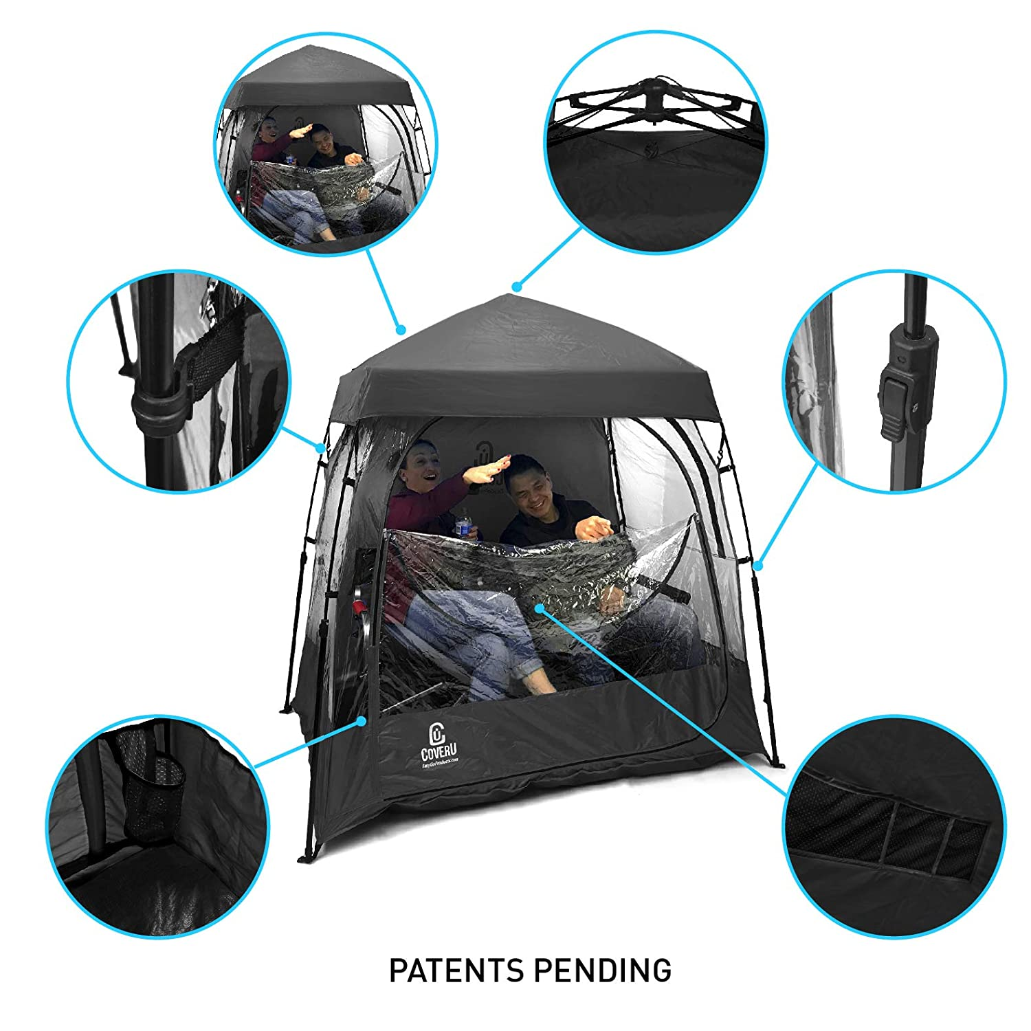 5. EasyGO CoverU Sports Shelter - 1 or 2 Person Weather Tent Pod - Patents Pending