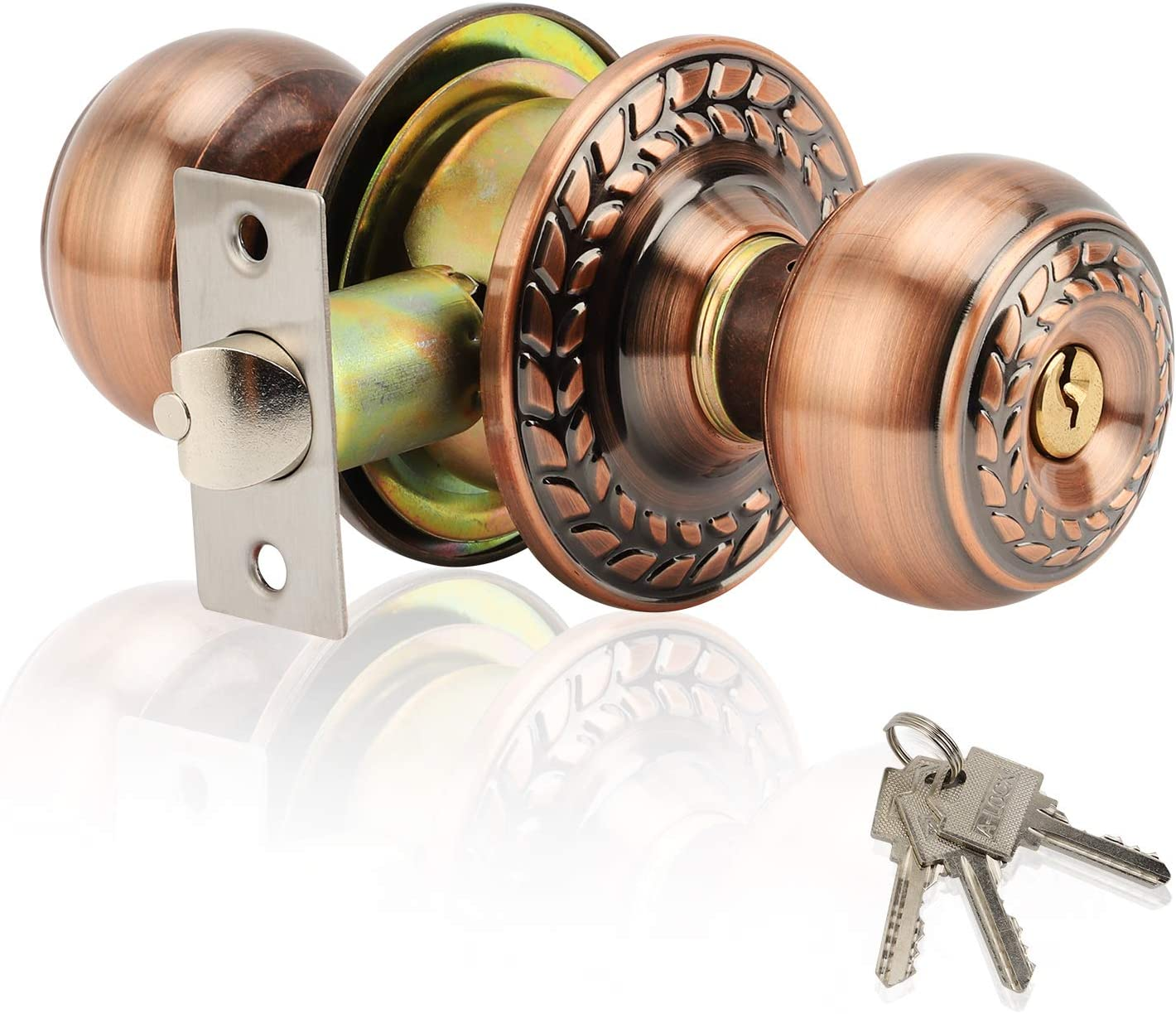 XIUDI Stainless Steel Door Knobs with Lock and Key for Bedroom,Interior Privacy Door Knobs with keypad,Ball Entry Door Handle Bronze,Entrance Privacy/Bedroom (Classic Bronze)