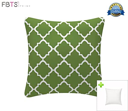 FBTS Prime Outdoor Decorative Pillows With Insert Deep Green Patio Accent  Pillows Throw Covers 18x18 Inches
