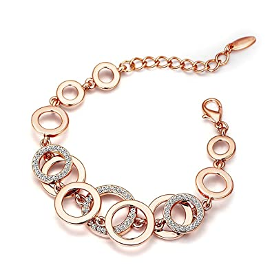 1abeeec4b9858 YouBella Jewellery Bracelets for Women Rose Gold Plated Crystal Bracelet  Bangle Jewellery for Girls and Women
