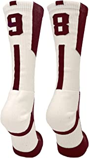 Player Id Maroon/White Number Crew Socks (Pair)