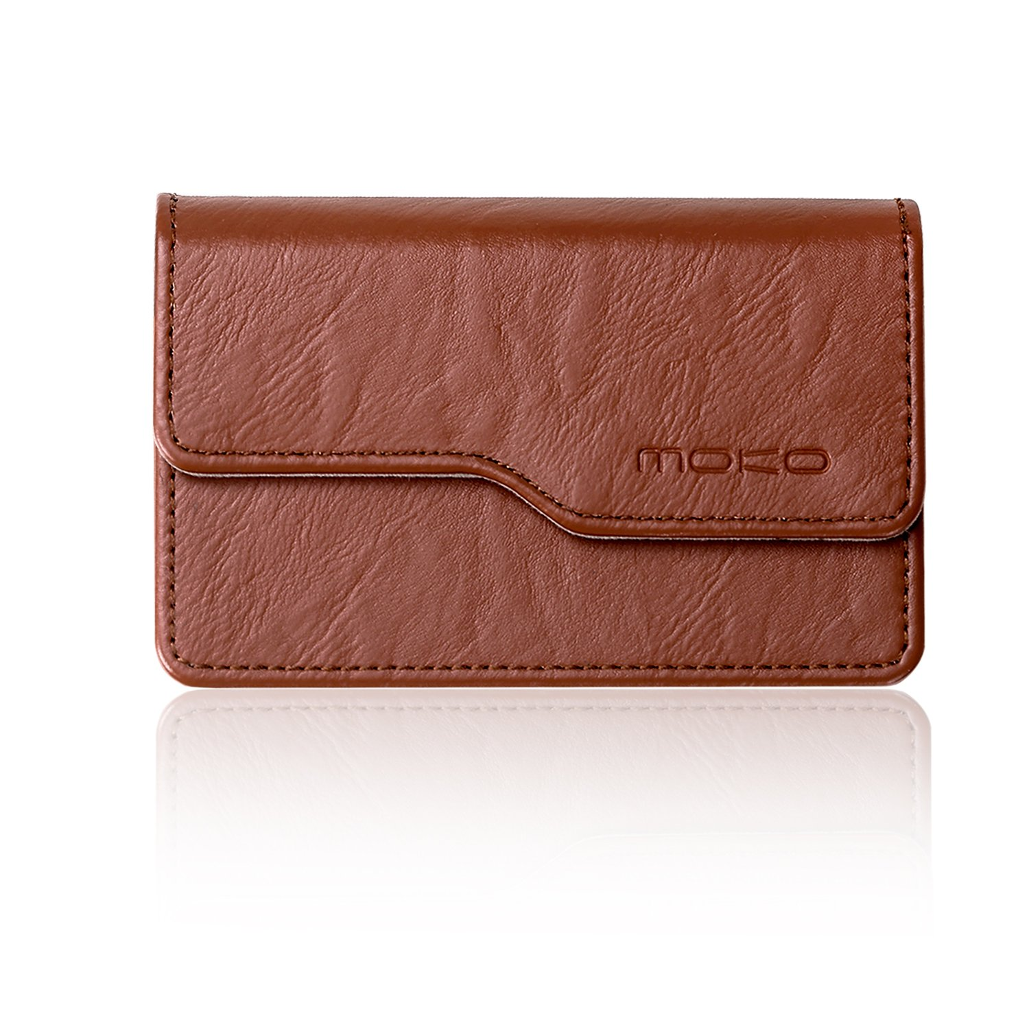 Business Card Holder ID Card Case - MoKo Premium PU Leather Universal Card Case Wallet Organizer with Magnetic Shut, Brown MK-0705