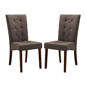 Amazoncom Baxton Studio Anne Fabric Modern Dining Chair Brown
