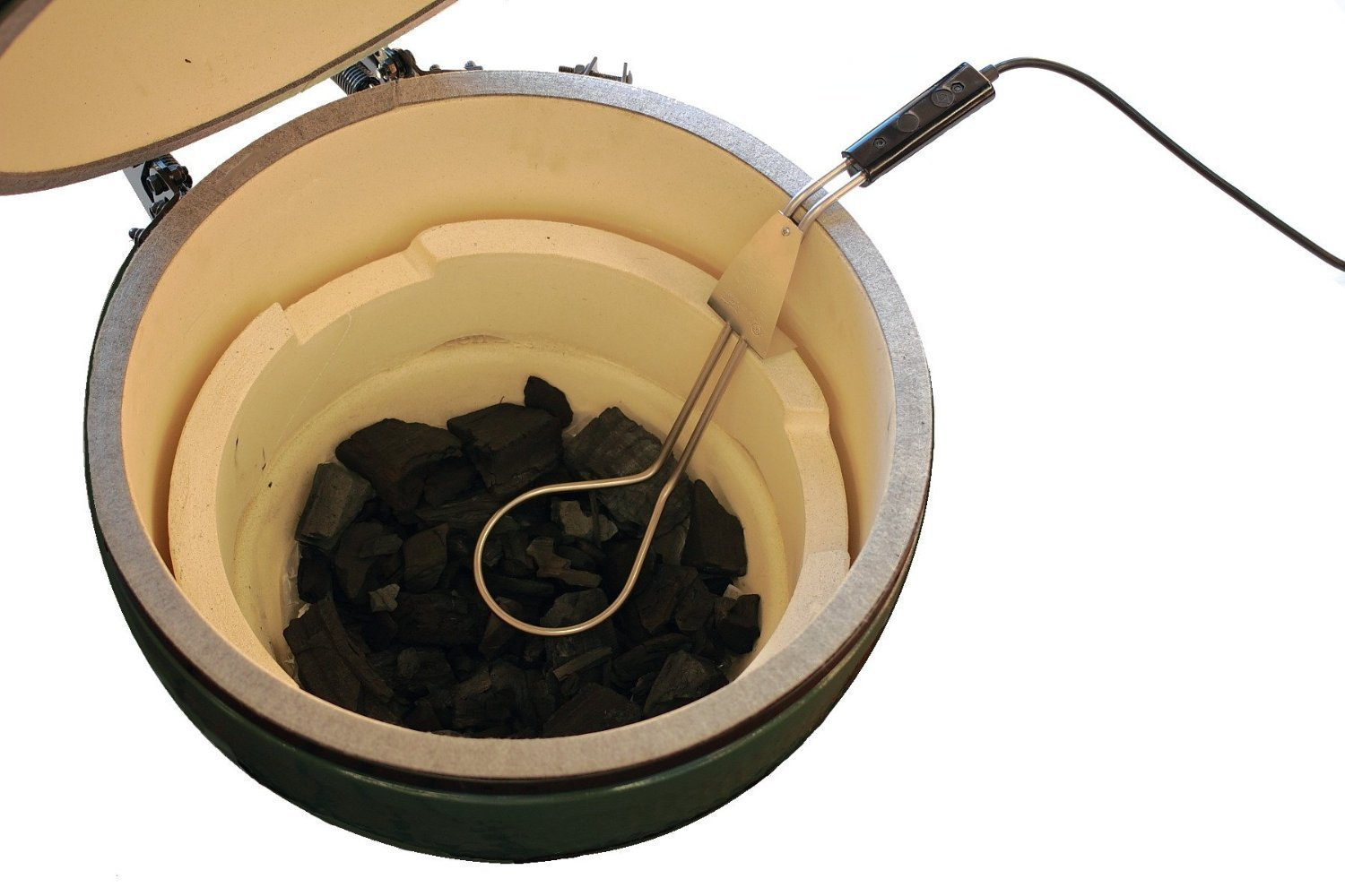 Jur_Global Electric Charcoal Starter by Premium Products Perfect for Big Green Egg, Kamado Joe & Weber Kettle Grills - Adjustable Height, 600 Watt Strong - Great for Lump Charcoal