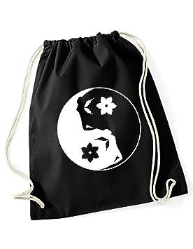 Bolsa cincha deportiva Mochila Festival Bolso Bolsa Hipster fashion con frase Ying Yang de 3 Elfen negra: Amazon.es: Equipaje