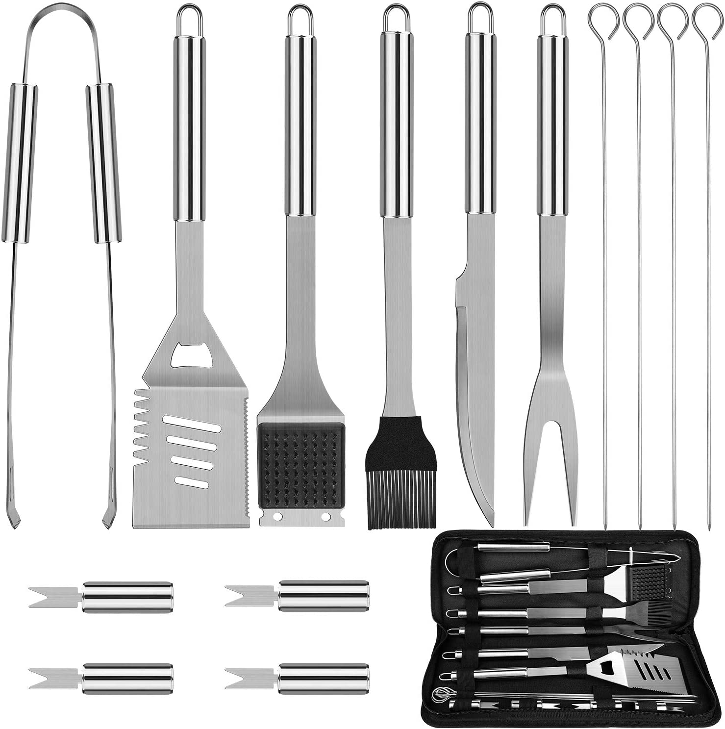 Anpro Grilling Accessories BBQ Tools Set, 15 PCS Stainless Steel Grill Kit with Case, Great Barbecue Utensil Tool for Men, Women, Dad