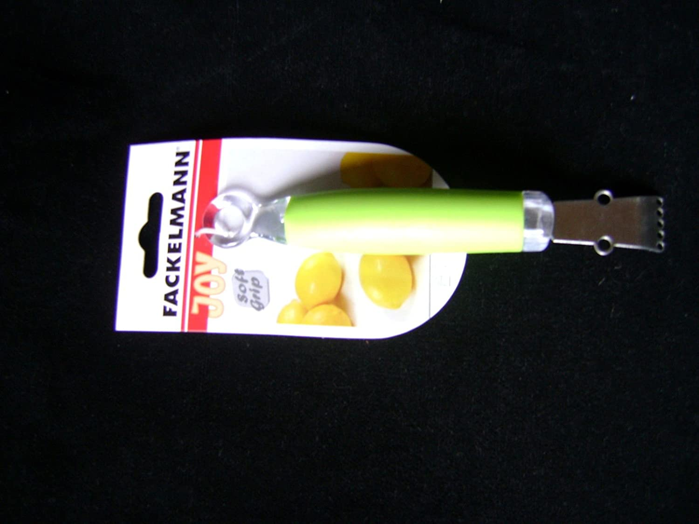 LEMON FRUIT ZESTER STAINLESS STEEL SOFT GRIP LIME GREEN HANDLE FACK 24868