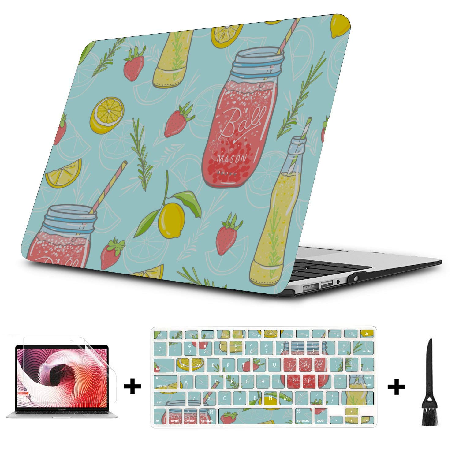 Mac Cases Summer Sour Sweet Strawberry Juice Plastic Hard Shell Compatible Mac Air 11 Pro 13 15 Case MacBook Air 13 Protection for MacBook 2016-2019 Version