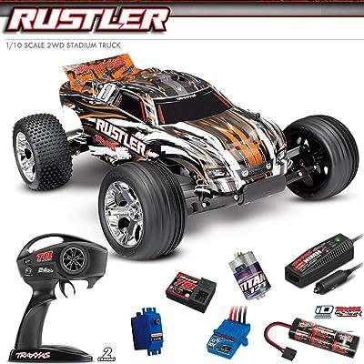 Traxxas 37054-1-ORNG Rustler: 1/10 Scale Stadium Truck w/TQ 2.4 GHz Radio System: Toys & Games