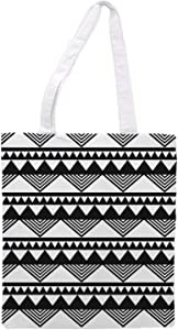 Womens Triangle Pattern Tote Bag - Black & White - Sports Gym Lunch Yoga Shopping Travel Bag Washable - 1.47X0.98 Ft