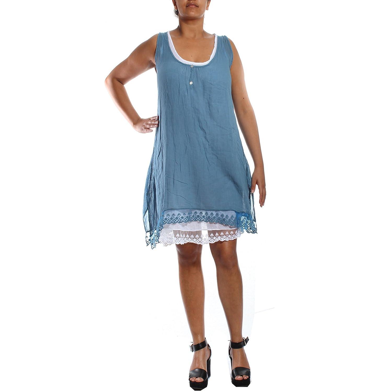 e1514a76dd2f1 New Ladies White Lagenlook 2 Layered cotton Summer Sun Dress size 10 12 14  16 18