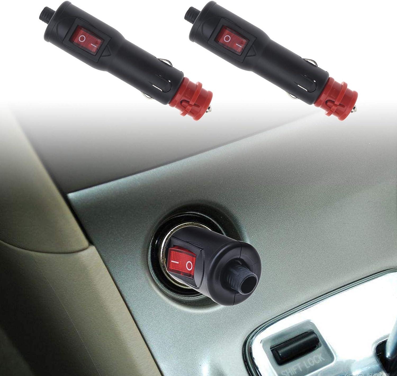 2x Auto Dc 12 24v Zigarettenanzünder Stecker 8amp Sicherung Mit Rotem Ein Aus Beleuchteter Schalter Universal Für Pkw Lkw Ersatzteile Für Boote Auto