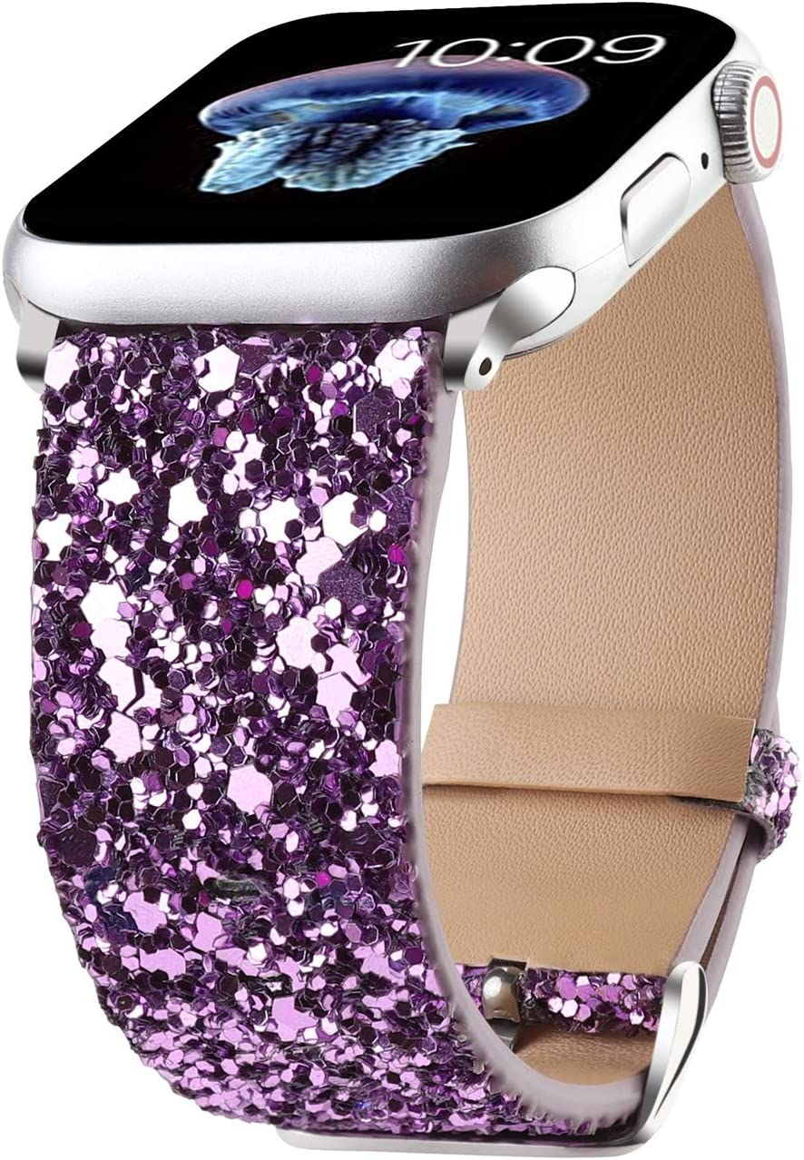 Bling Bands Compatible with Apple Watch Band 38mm 40mm 42mm 44mm Women, Iwatch Strap Shiny Bling Glitter Leather Replacement Wristband for Apple Watch Series 6 5 4 3 2 1 SE Sport Edition (Purple)