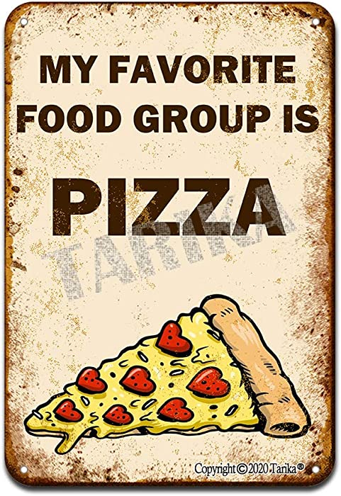 My Favorite Food Group is Pizza Iron Poster Painting Tin Sign Vintage Wall Decor for Cafe Bar Pub Home Beer Decoration Crafts
