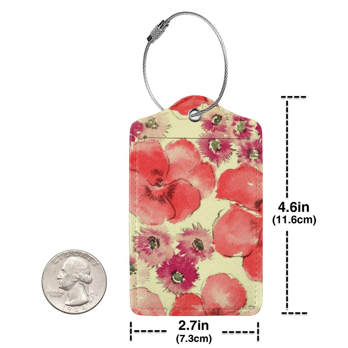 Colorful Hawaii Flowers Luggage Tag Label Travel Bag Label With Privacy Cover Luggage Tag Leather Personalized Suitcase Tag Travel Accessories