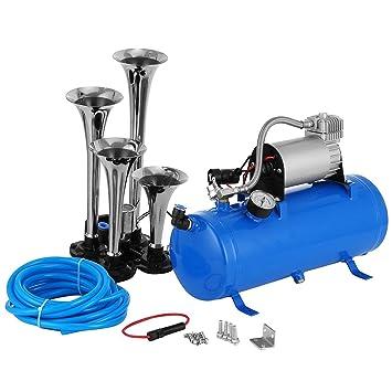 kaluo 1,6 gallon 4 Trompeta 150dB vehículo Air Horn 12 V Azul Compresor De
