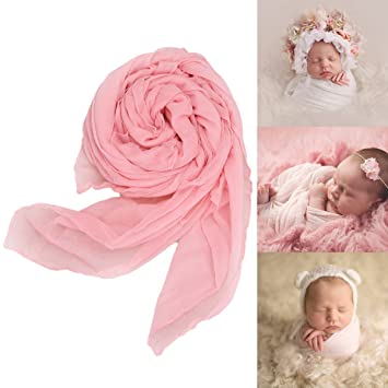 Newborn baby cheesecloth stretch wrap photo props photography blanket pink