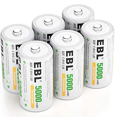 EBL Rechargeable C Batteries 5000mAh Ready2Charge C Size Battery