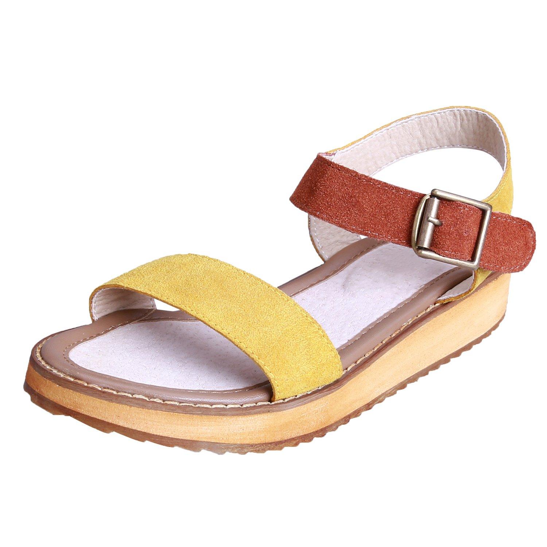Smilun Girl's Summer Sandals Flip Flop Thong Cross Wrap Back Strap Metal Buckle Strap Flip Flops Thongs Sandals Flat Gladiator Sandals Yellow US6.5