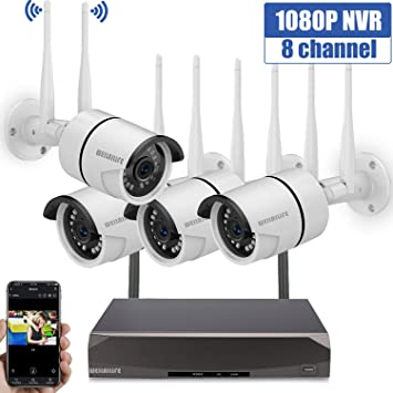 8CH Wireless NVR Outdoor IR-CUT IP Wifi Cameras Home Security System Remote View