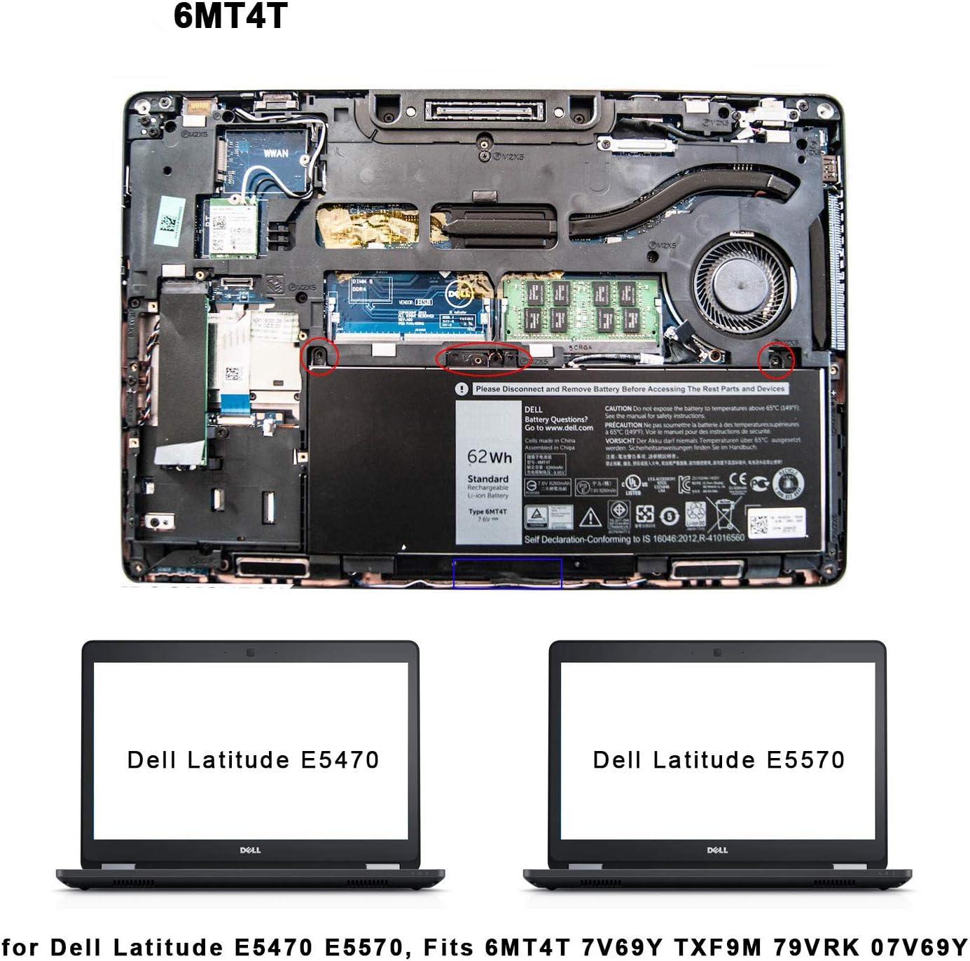 ASKC 62Wh 6MT4T Ersatzakku fr Dell Latitude E5470 E5570 Precision ...