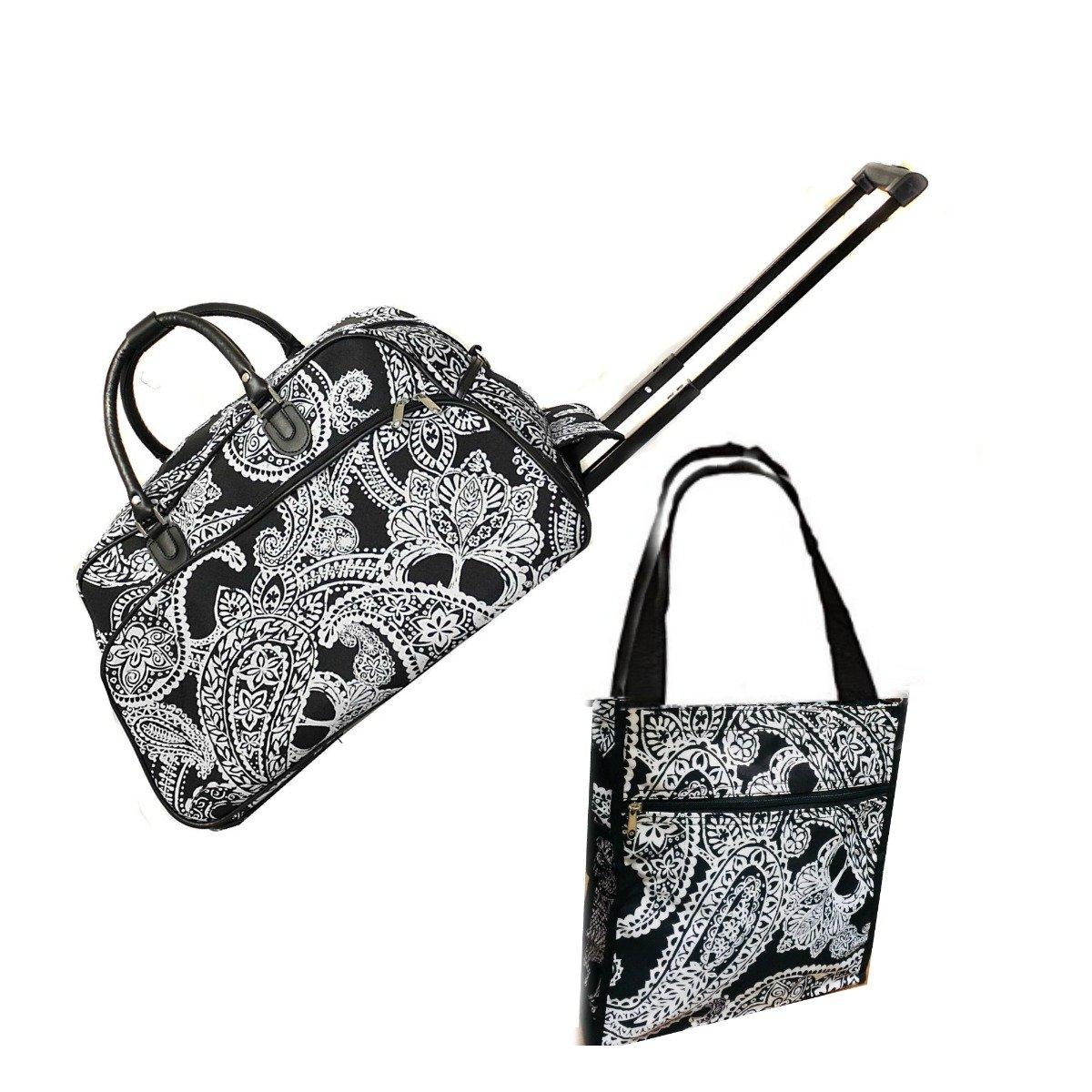 Carry On Rolling Duffel Women Travel Set 21'' Black White Damask Shoulder Tote Bag
