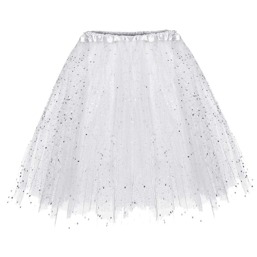 UOFOCO Pleated Gauze Short Skirt Women Adult Tutu Dancing Skirt White