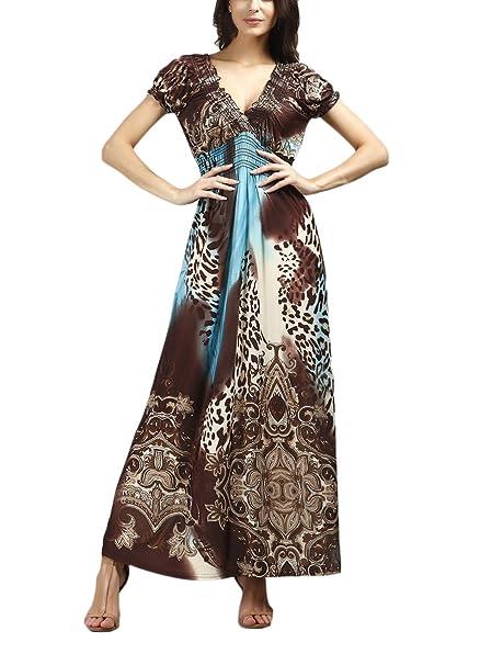 Vestidos Playa Mujer Vestidos Largos De Verano Elegantes Manga Corta V Cuello Vestido Dresses Señoras Moderno