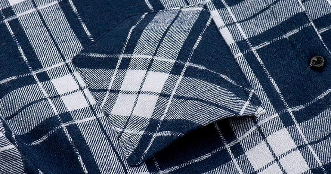 Unko Mens Plaid Fleece Lined Casual Button Down Slim Long Sleeves Shirt