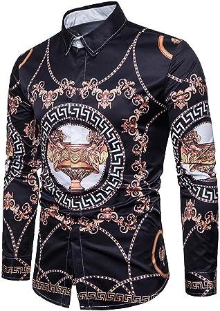 Fanuosums Camisas para Hombre Regular Fit, Camisa de Manga Larga con Estampado de Cadenas de Trofeo de otoño de Gran tamaño (Color : Negro, tamaño : XL): Amazon.es: Hogar