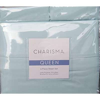 CMA Charisma Queen Blue 6 Piece Spa Blue Brushed Microfiber Sheet Set for deep mattresses: Home & Kitchen