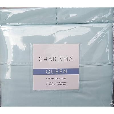 CMA Charisma Queen Blue 6 Piece Spa Blue Brushed Microfiber Sheet Set for deep mattresses: Home & Kitchen