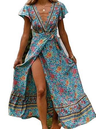80e0f24b15 Women's Boho Dresses Wrap V Neck Short Sleeve Ethnic Style High Split Beach  Maxi Dress S