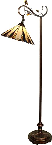 Dale Tiffany TF90263 Tiffany Downbridge Floor Lamp with Art Glass Shade, Antique Golden Sand