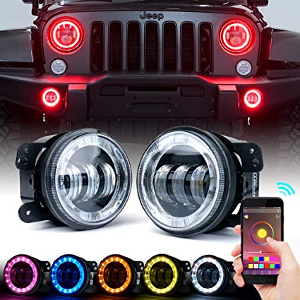 Jeep Wrangler Fog Lights >> Xprite 4 Led Bluetooth Fog Light W Rgb Halo Angel Ring For 2007 2018 Jeep Wrangler Jk 60w Cree Led Chip