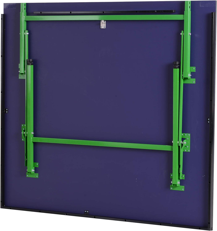 HOMCOM Mesa de Ping Pong Plegable con Ruedas Red Tenis de Mesa Portátil Patas Ajustables para Interior Exterior 274x152.5x76cm Material de Acero MDF Color Azul: Amazon.es: Deportes y aire libre