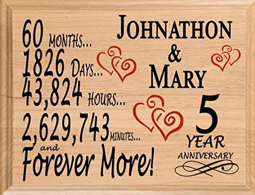 Amazon Com Broad Bay 5 Year Anniversary Sign Personalized Wood
