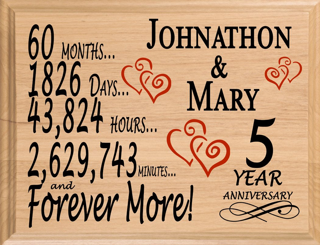 Broad Bay 5 Year Anniversary Sign Personalized Wood Wooden 5th Gift for Her for Him for Couple by Broad Bay