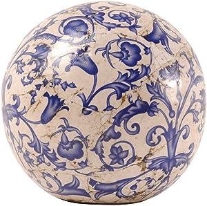 Esschert Design USA Ceramic Ball small -Faded Blue/White