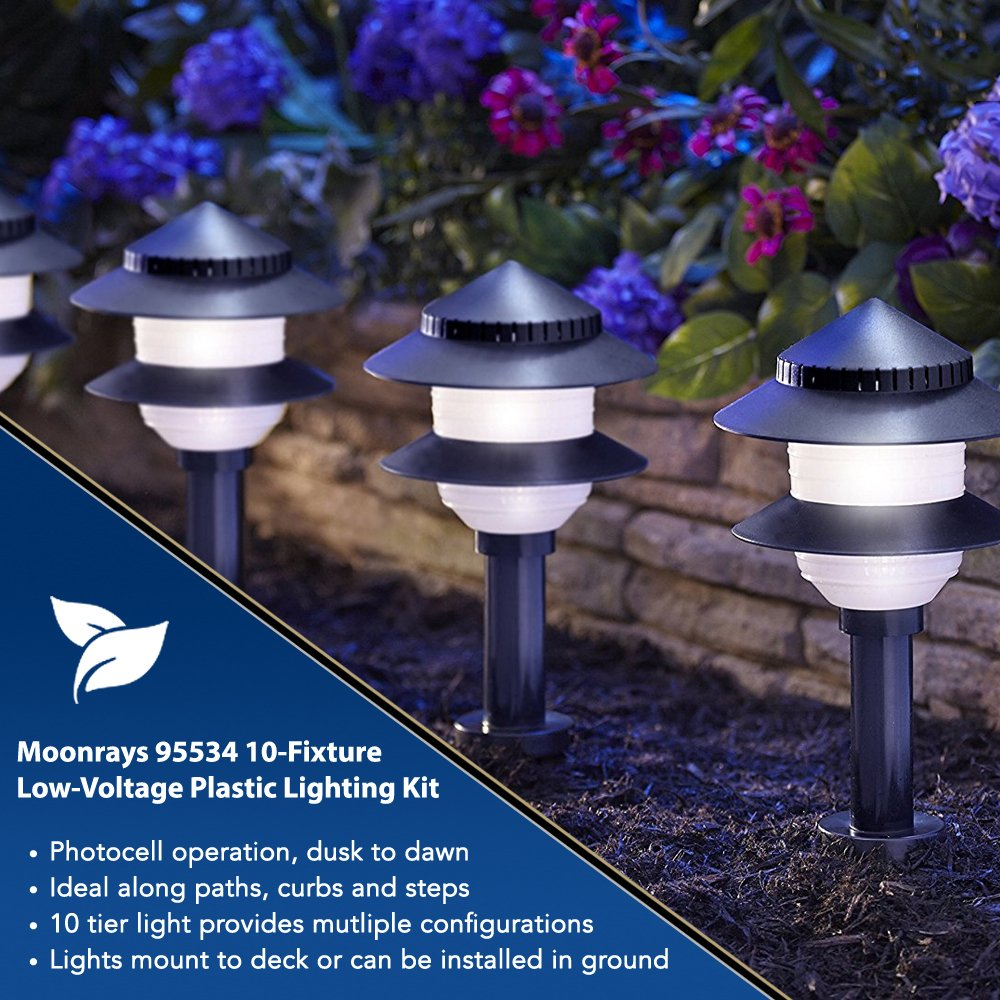 Moonrays Low Voltage Path Lights In Tiered Design 10 How To Wire Outdoor Lighting Part 3 Fixture Kit Black Landscape Pathlights