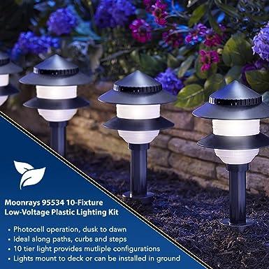 Moonrays Solar Path Lights In Tiered Design (Low Voltage 10 Fixture Kit,  Black)   Landscape Pathlights   Amazon.com