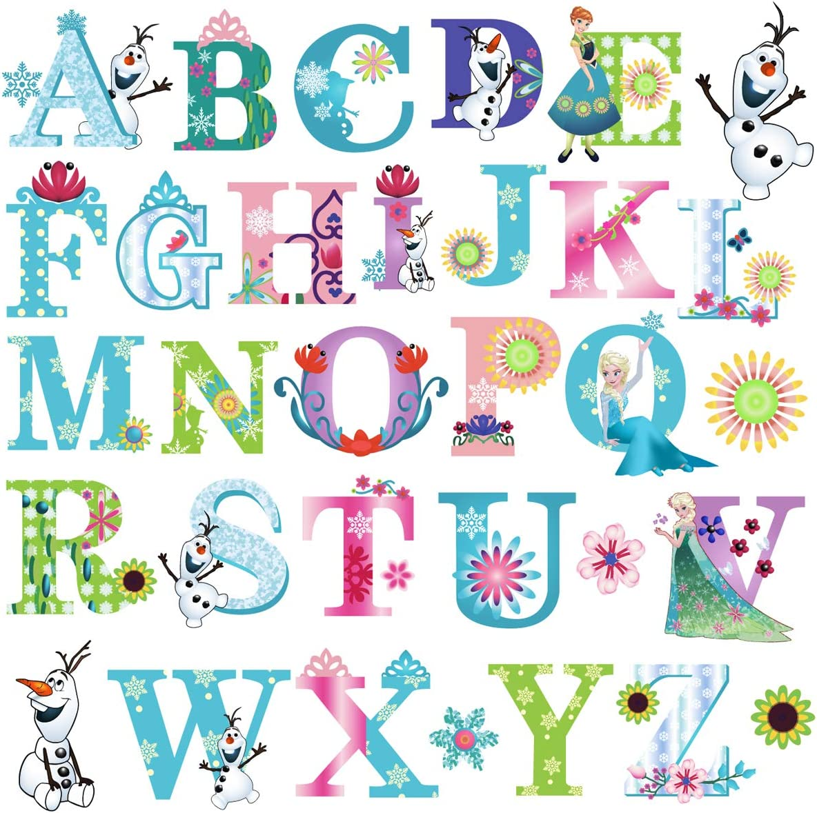 DEKOSH Frozen Theme Alphabet Wall Stickers for Baby Girl Nursery | Peel & Stick Decorative Girl Nursery Wall Decals for Kids Playroom, Baby Bedroom